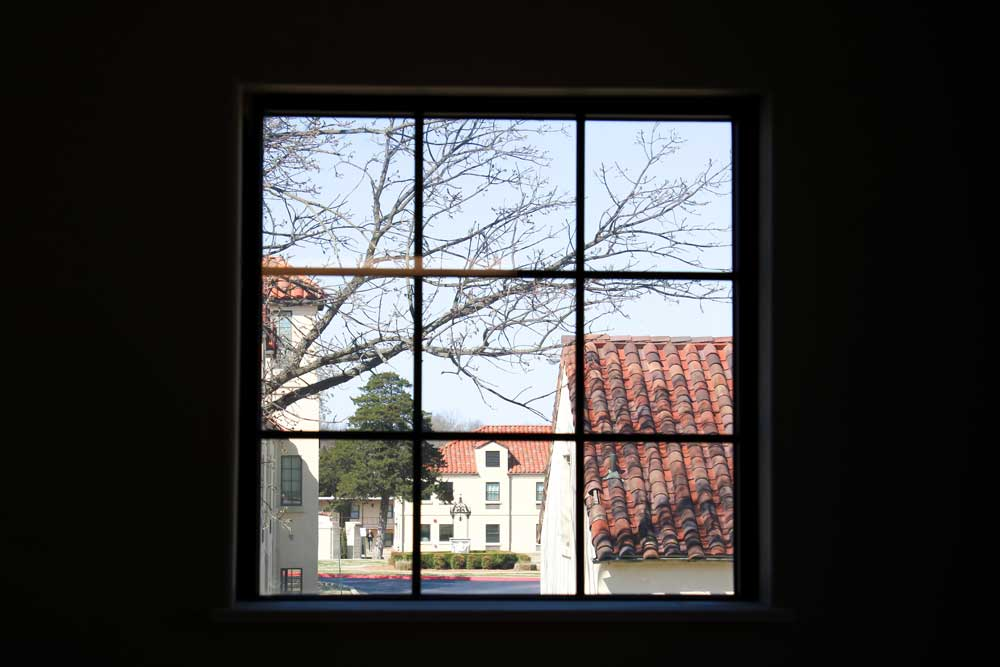 campus through a window
