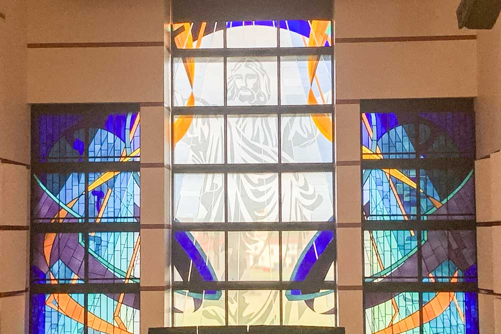 Picture of the stained glass in the Oklahoma Wesleyan University chapel