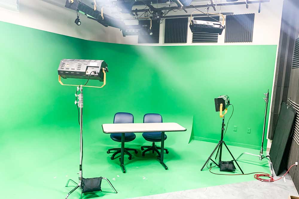 green screen studio in the keating center