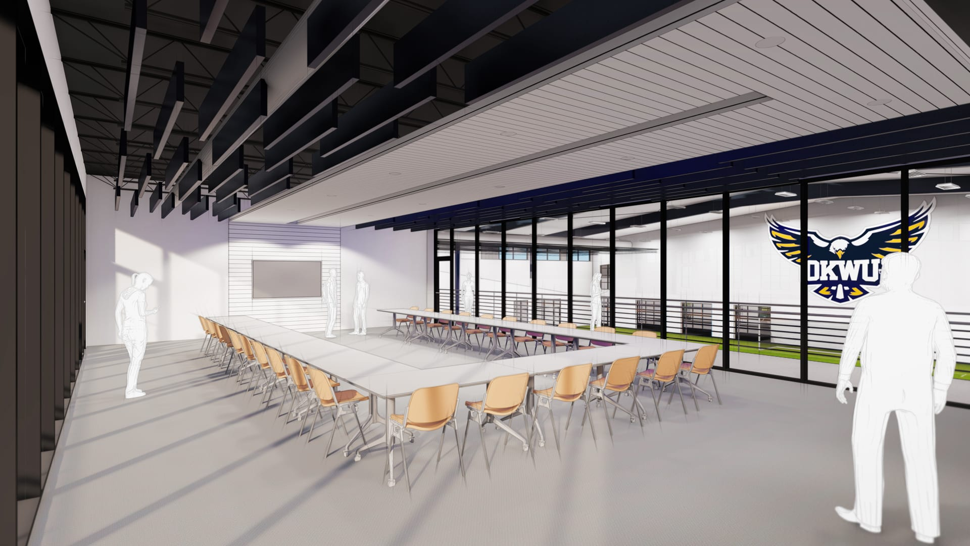 Rendering of field house hospitality room and flex space