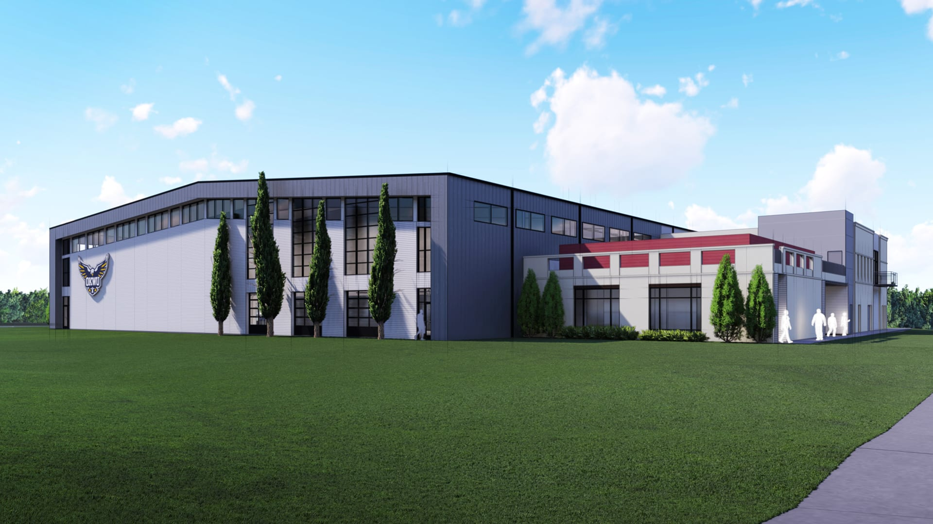 Rendering of field house exterior northeast view