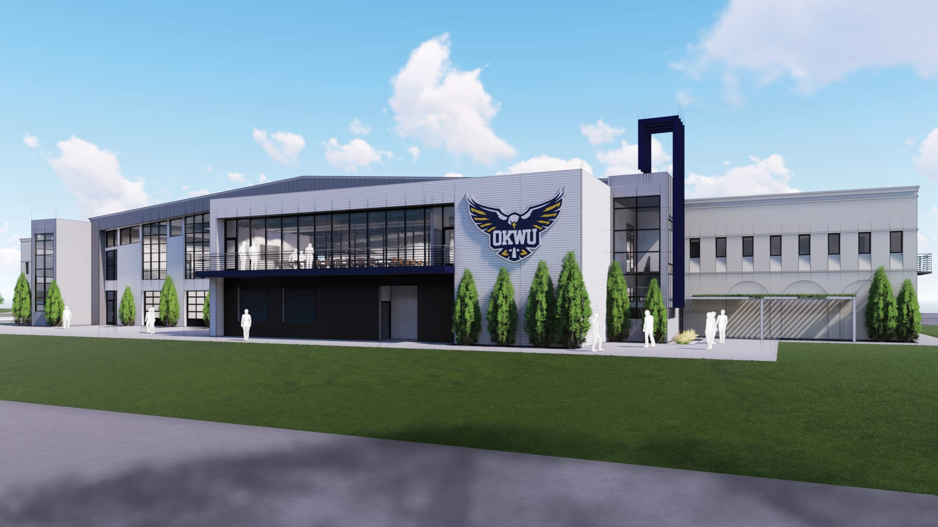 Rendering of field house exterior southwest view